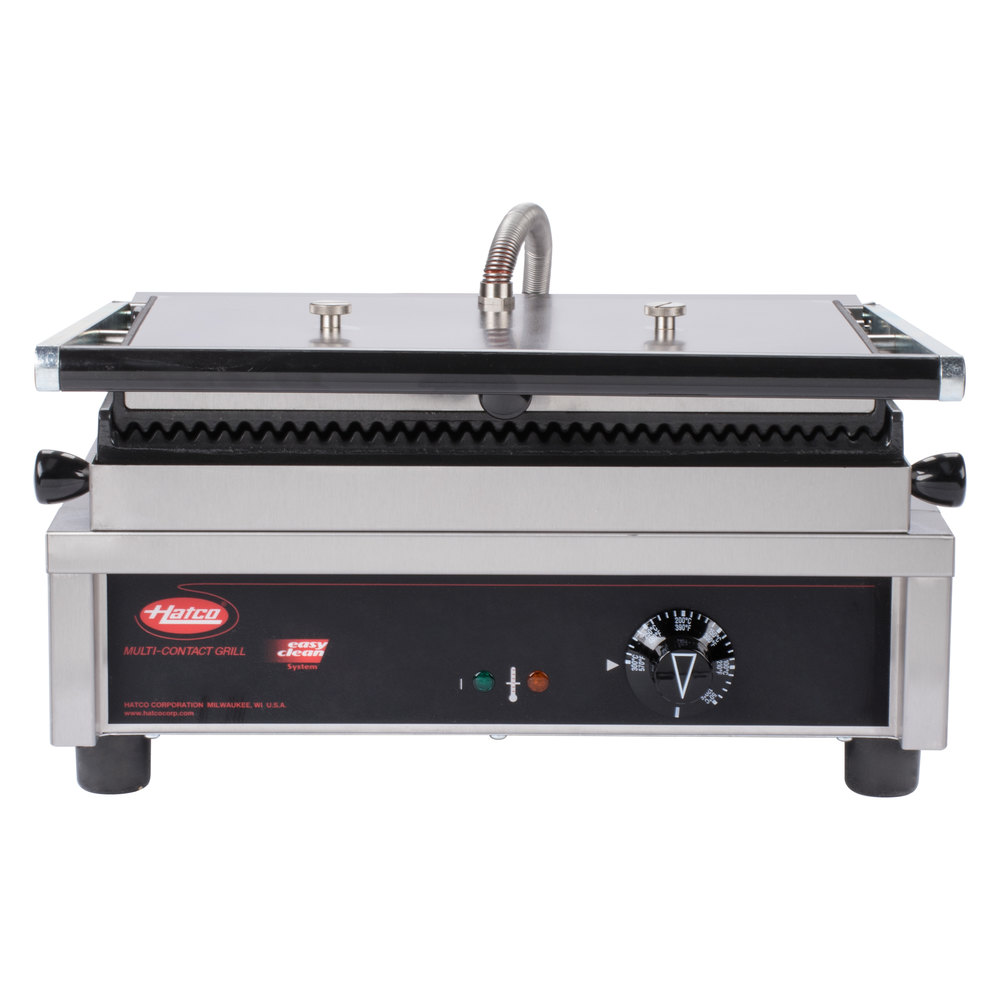 "Hatco MCG10G 13"" Multi Contact Panini Sandwich Grill with Grooved Cast Iron Plates"
