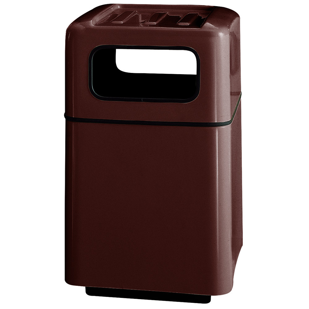 Rubbermaid fg2438 foodcourt dark brown square fiberglass waste receptacle with covered tray top - Covered wastebasket ...