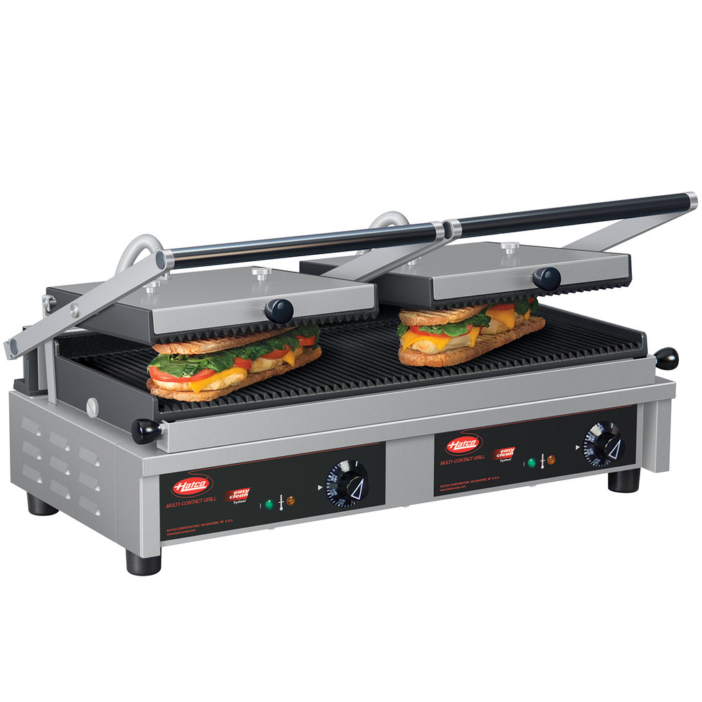 hatco mcg20g 26 multi contact double panini sandwich grill with grooved cast iron plates. Black Bedroom Furniture Sets. Home Design Ideas