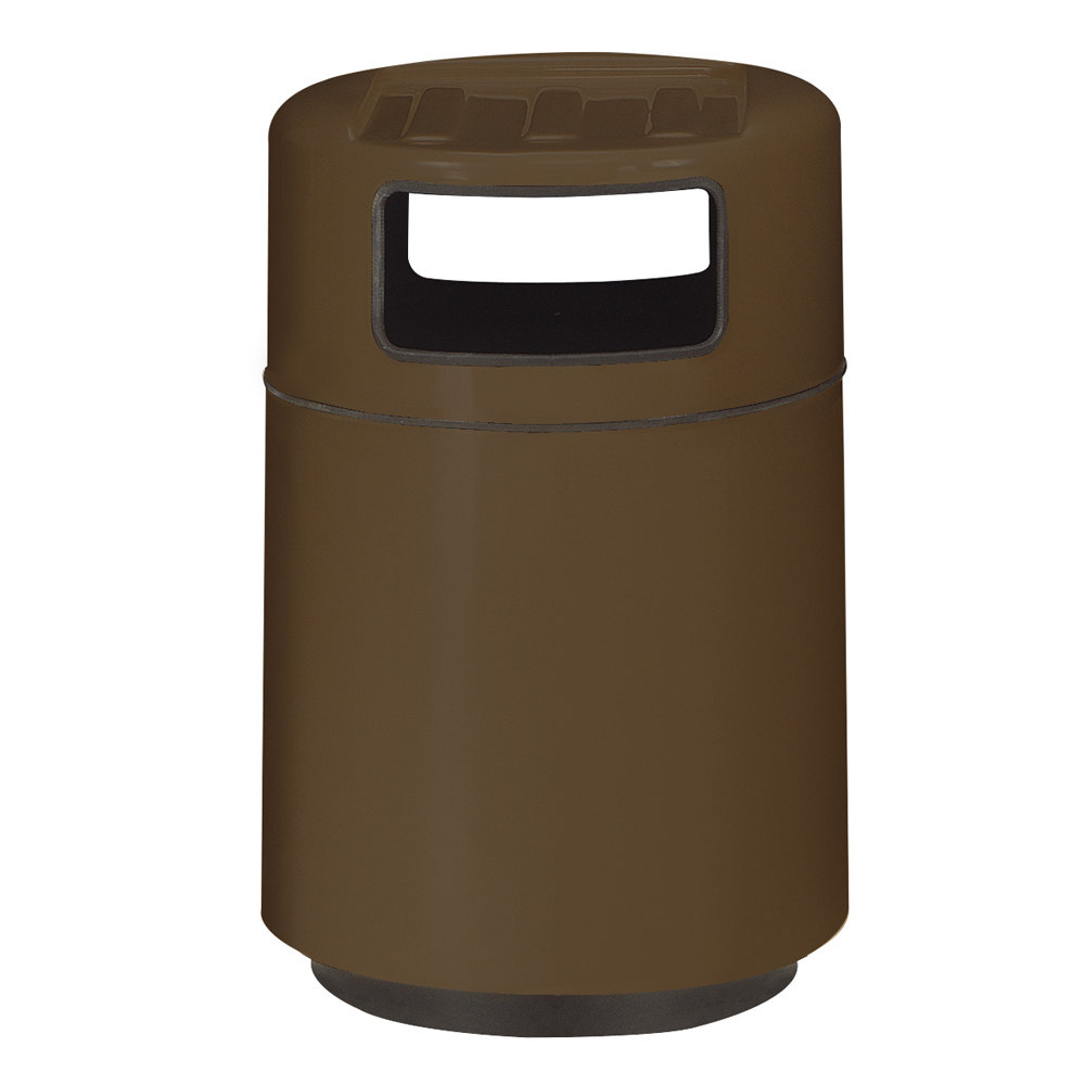 Rubbermaid fg2439tr foodcourt bronze round fiberglass waste receptacle with covered tray top and - Covered wastebasket ...