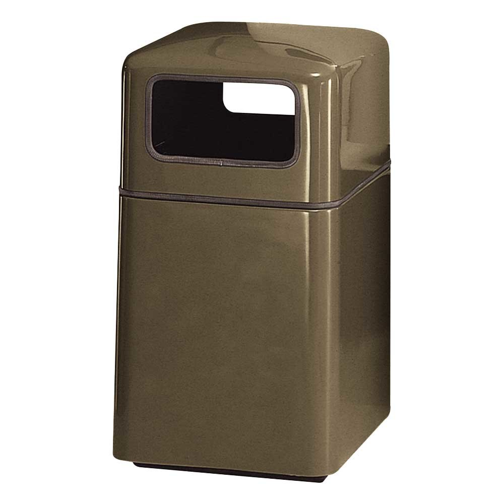 Rubbermaid fg2038sq covered tops bronze square fiberglass waste receptacle with rigid plastic - Covered wastebasket ...