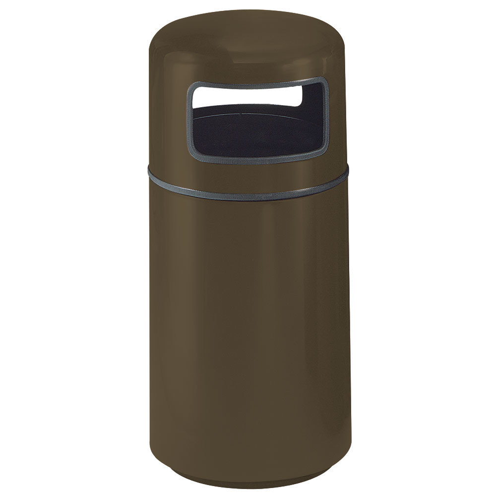 Rubbermaid Fg1639 Covered Tops Bronze Round Fiberglass Waste Receptacle With Rigid Plastic Liner