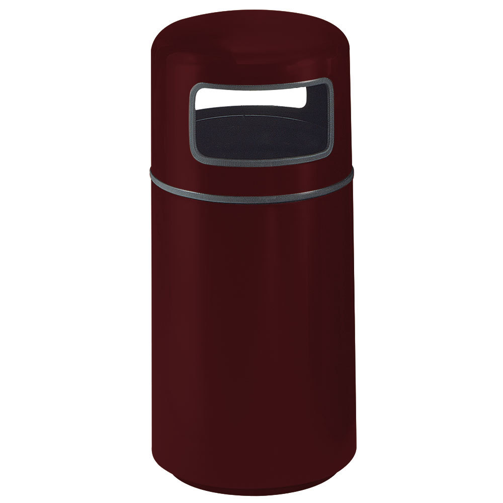 Rubbermaid fg1837 covered tops burgundy round fiberglass waste receptacle with rigid plastic - Covered wastebasket ...