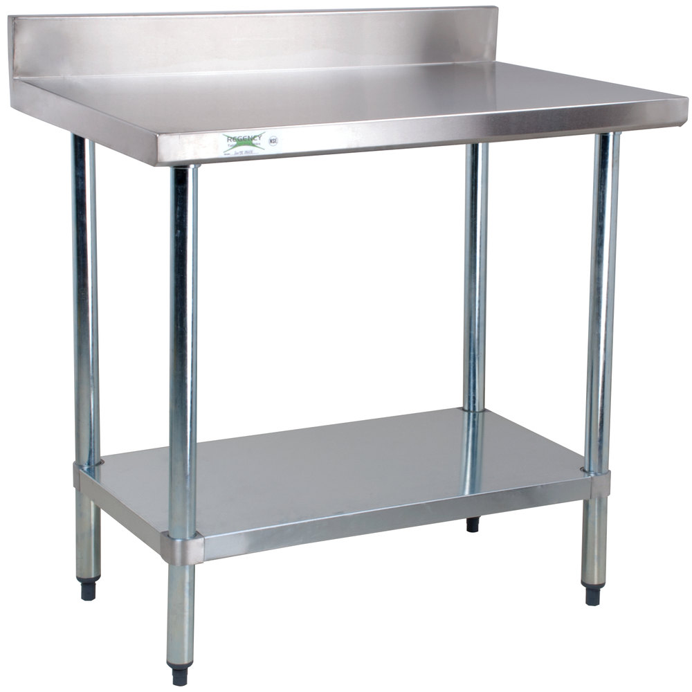 regency 24 x 36 18 gauge 304 stainless steel commercial work table with 4 backsplash and galvanized undershelf - Stainless Steel Work Table With Backsplash