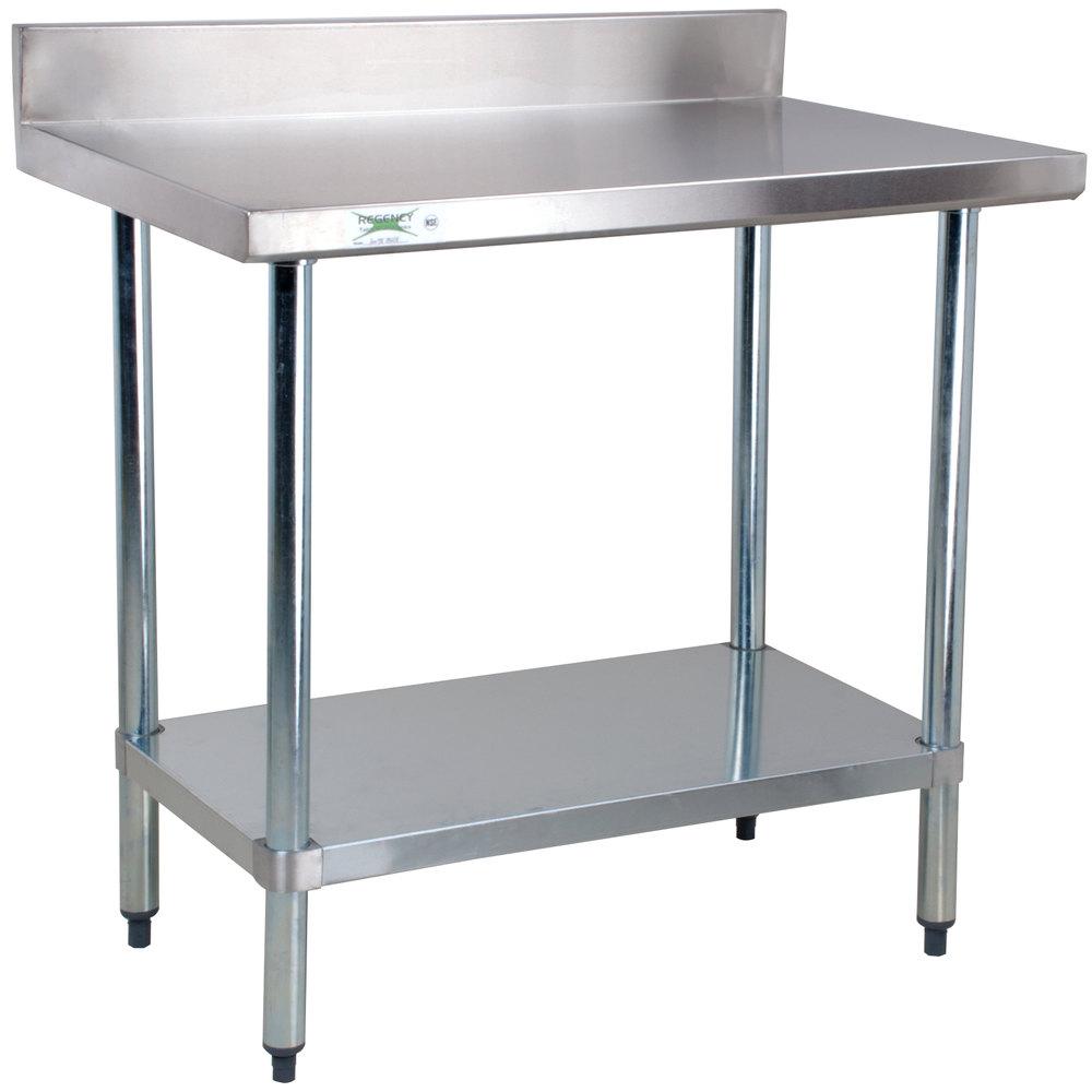 regency 24 x 36 18 gauge 304 stainless steel commercial work table with - Stainless Steel Work Table With Backsplash
