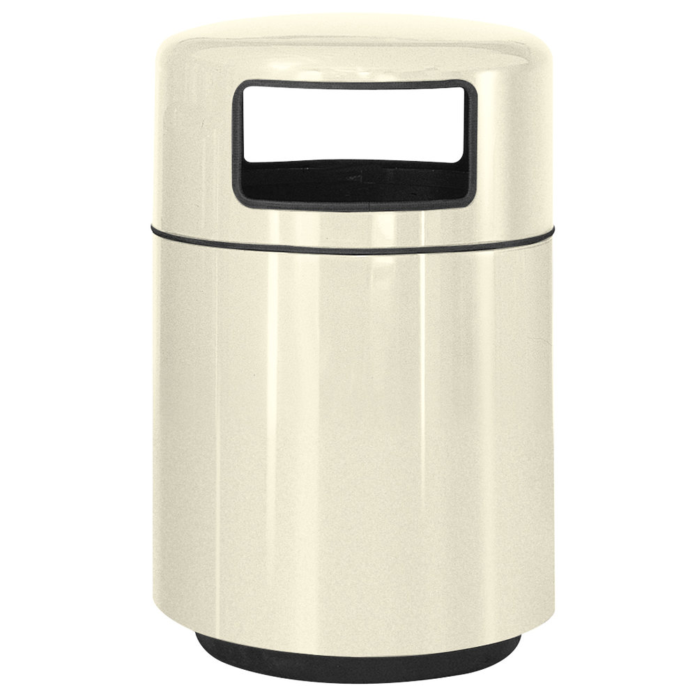 Rubbermaid fg2439 covered tops ivory fiberglass waste receptacle with rigid plastic liner 32 - Covered wastebasket ...
