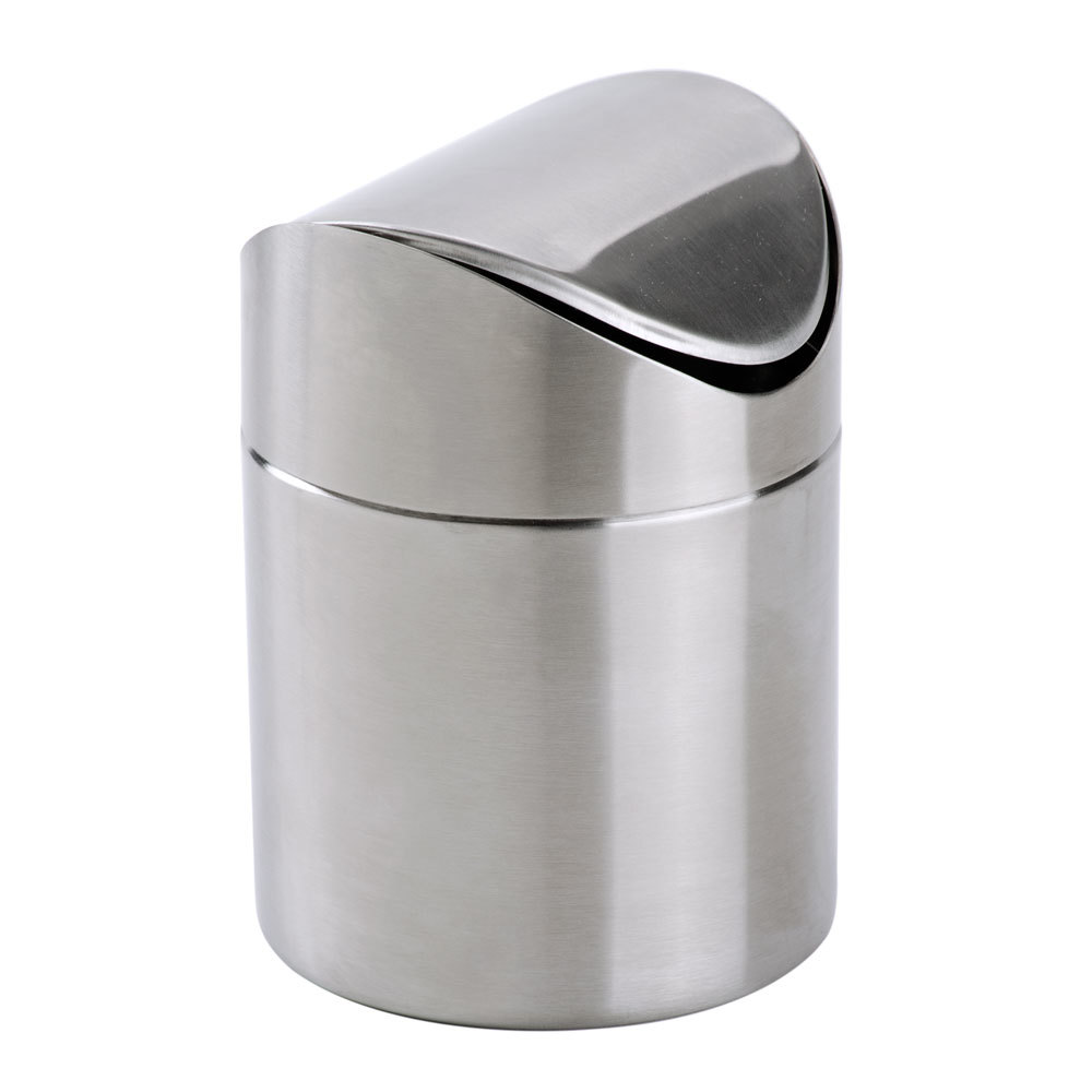 "American Metalcraft TIM1 6 5/8"" Brushed Stainless Steel Swing Waste Bin"