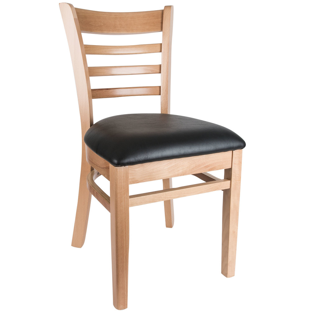 "Lancaster Table & Seating Natural Finish Wooden Ladder Back Chair with 1 1/2"" Padded Seat"