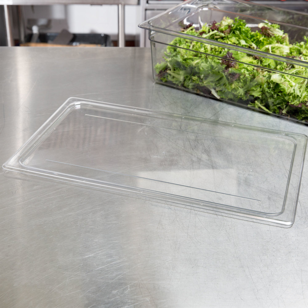 Cambro 10CWC135 Camwear Clear Polycarbonate Flat Full Size Lid