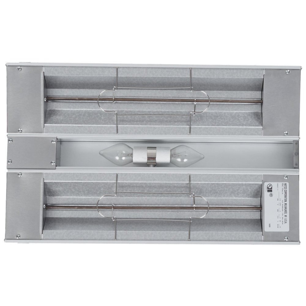 "Hatco GRAHL-24D Glo-Ray 24"" Aluminum Dual High Wattage Infrared Warmer with 3"" Spacer and Toggle Controls - 1120W"