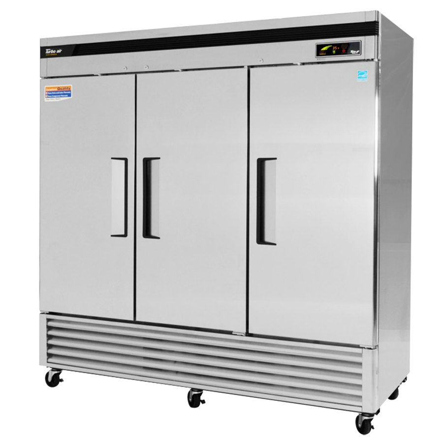 "Turbo Air TSR-72SD 82"" Super Deluxe Three Section Solid Door Reach in Refrigerator - 72 Cu. Ft."