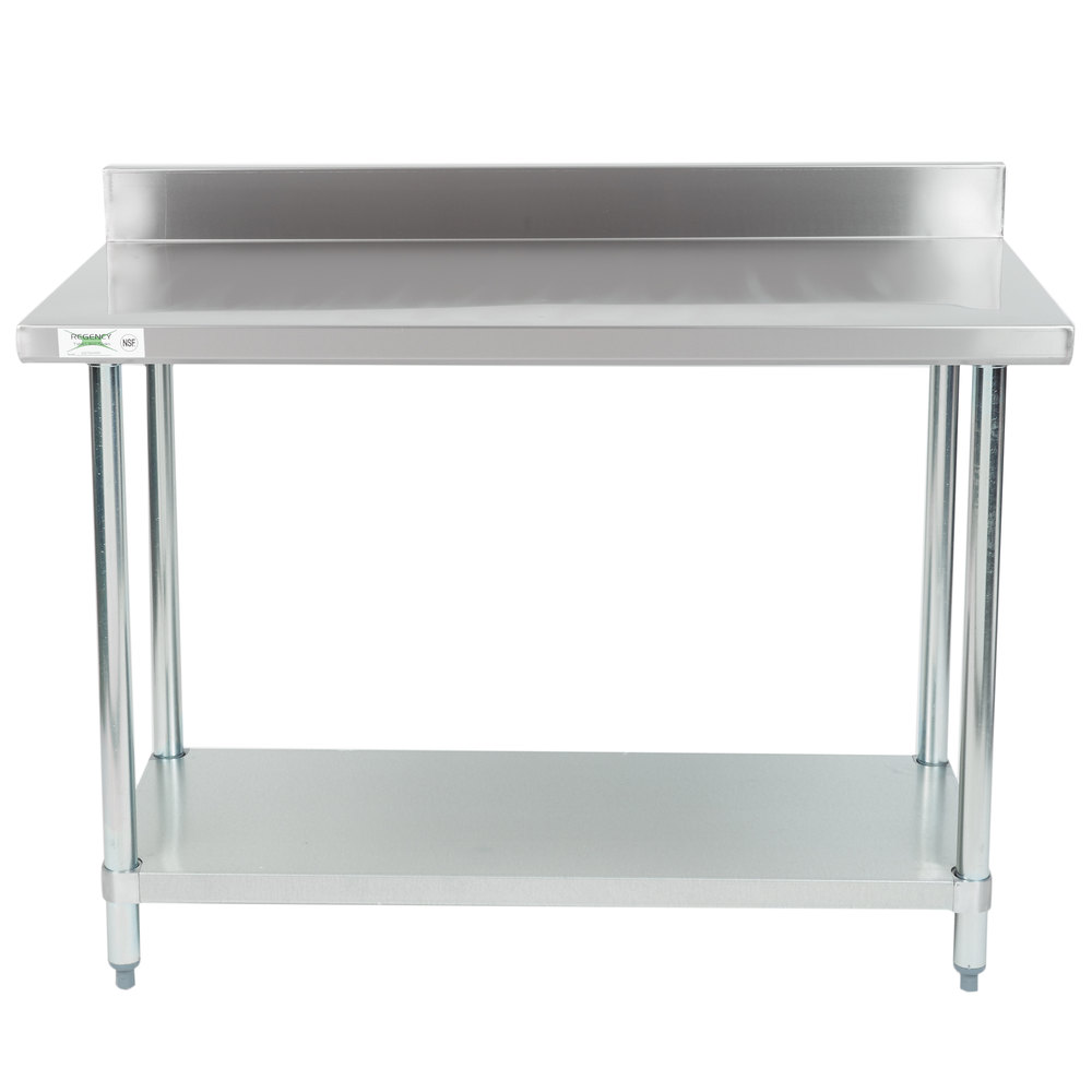regency 24 x 48 18 gauge 304 stainless steel commercial work table with 4 backsplash and galvanized undershelf