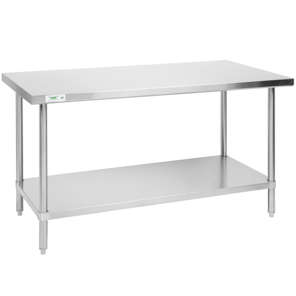 Regency 30 inch x 60 inch All 18-Gauge 430 Stainless Steel Commercial Work Table with Undershelf