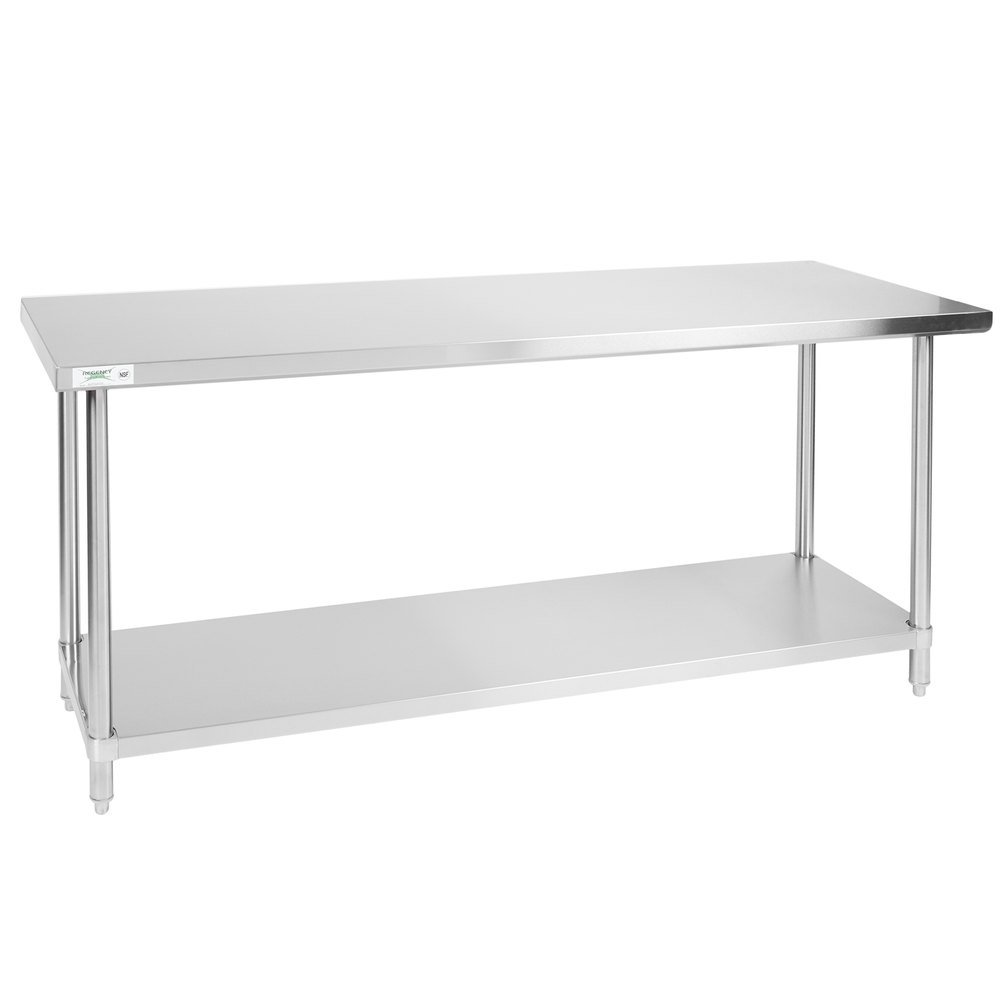 Regency 24 inch x 72 inch All 18-Gauge 430 Stainless Steel Commercial Work Table with Undershelf