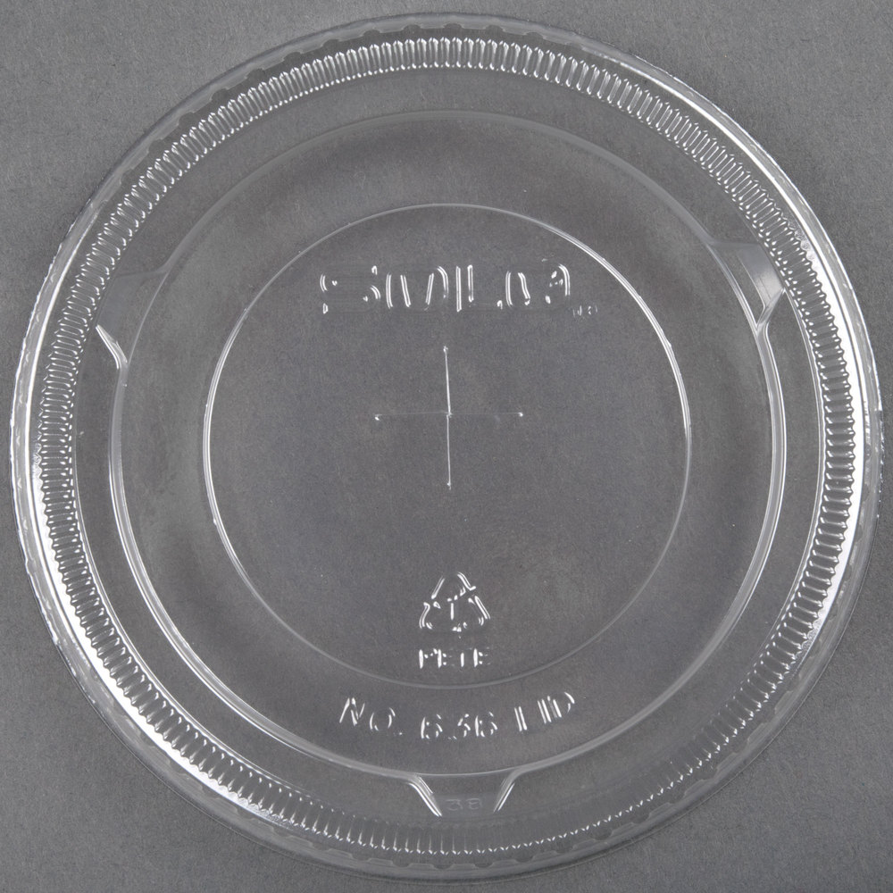 Dart Solo 636TS Clear Plastic Lid with Straw Slot - 50/Pack