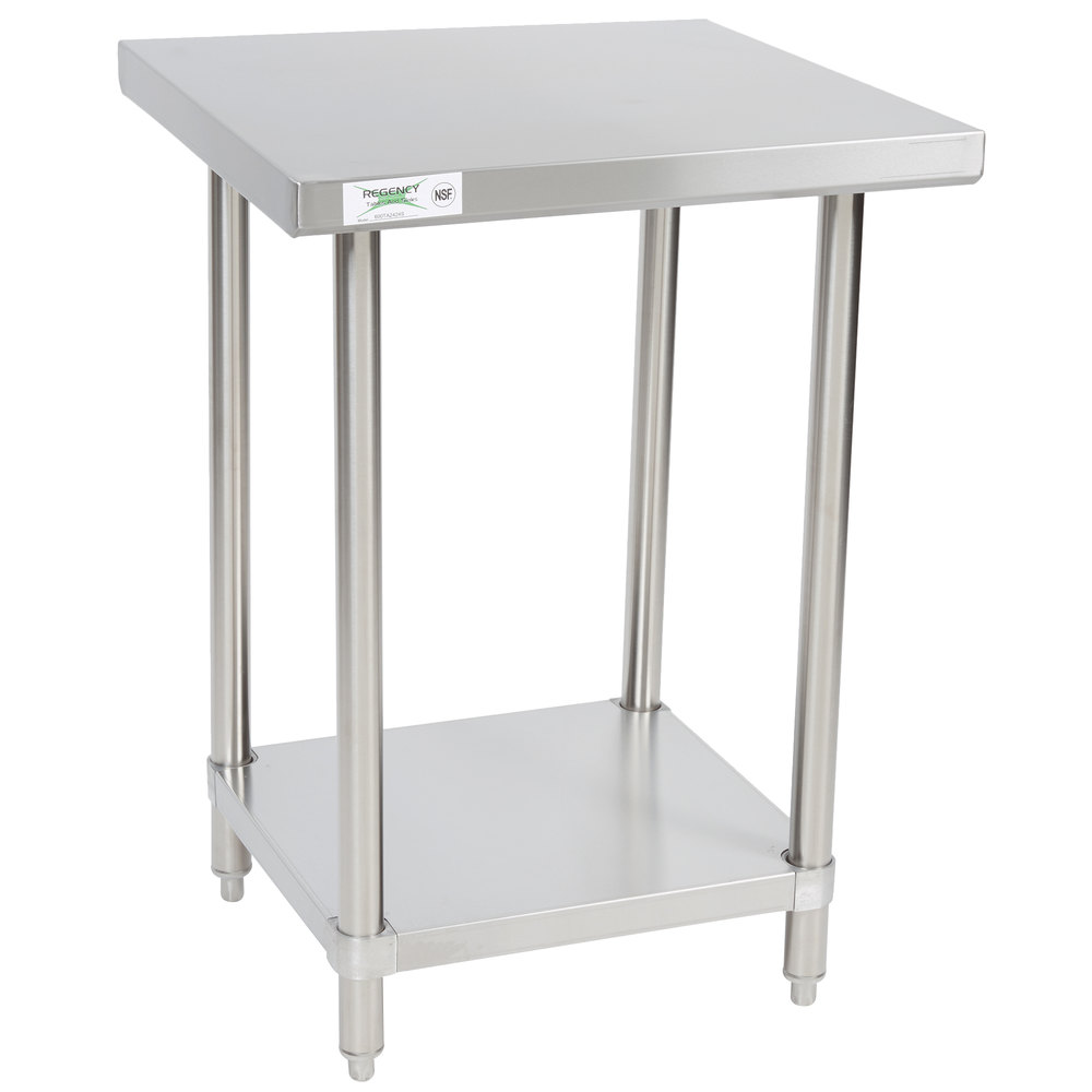 Regency 24 inch x 24 inch All 18-Gauge 430 Stainless Steel Commercial Work Table with Undershelf
