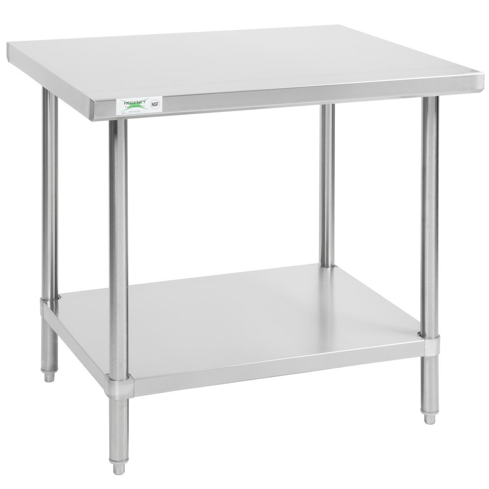 Regency 30 inch x 36 inch All 18-Gauge 430 Stainless Steel Commercial Work Table with Undershelf