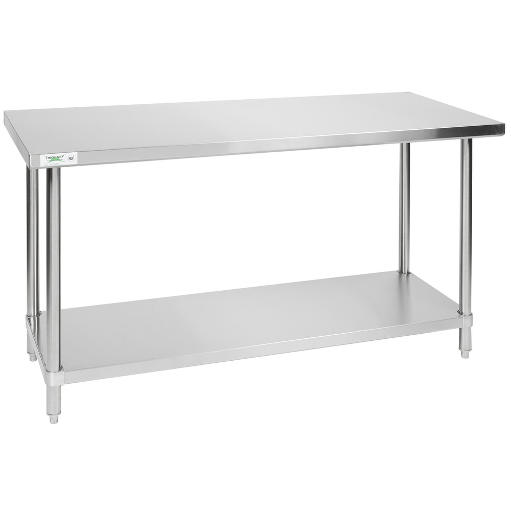 Regency 24 inch x 60 inch All 18-Gauge 430 Stainless Steel Commercial Work Table with Undershelf