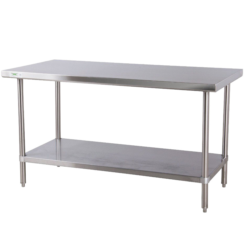 "Regency 24"" x 60"" All 18-Gauge 430 Stainless Steel Commercial Work Table with Undershelf"