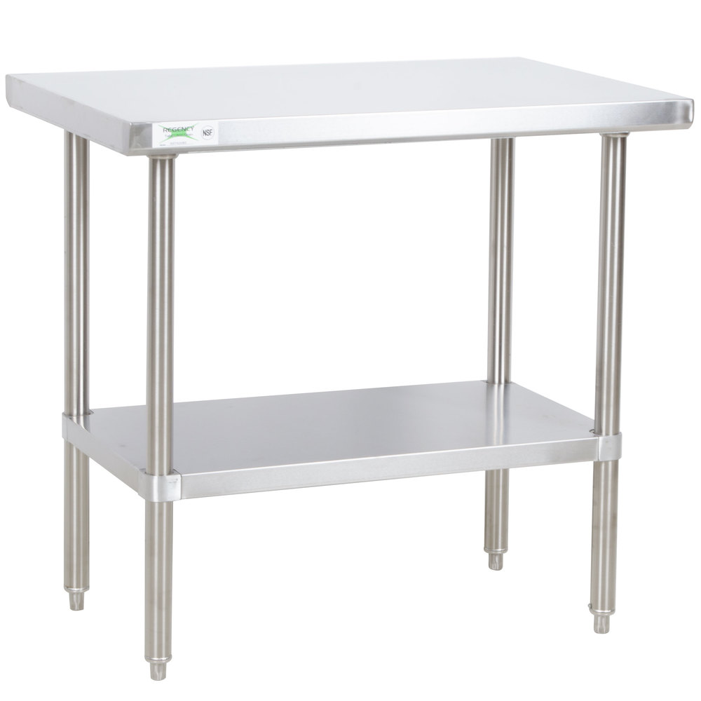 Regency 24 inch x 36 inch All 18-Gauge 430 Stainless Steel Commercial Work Table with Undershelf