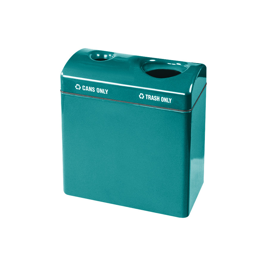 Rubbermaid FGFGR3418TC Recycling Centers Sea Green Fiberglass 2-Section Can/Trash Recycling Station with Rigid Plastic Liner (2) 23 Gallon (FGFGR3418TCPLSGN)
