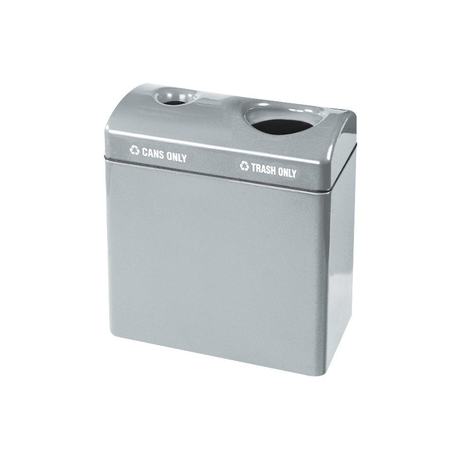 Rubbermaid FGFGR3418TC Recycling Centers Warm Gray Fiberglass 2-Section Can/Trash Recycling Station with Rigid Plastic Liner (2) 23 Gallon (FGFGR3418TCPLWMG)
