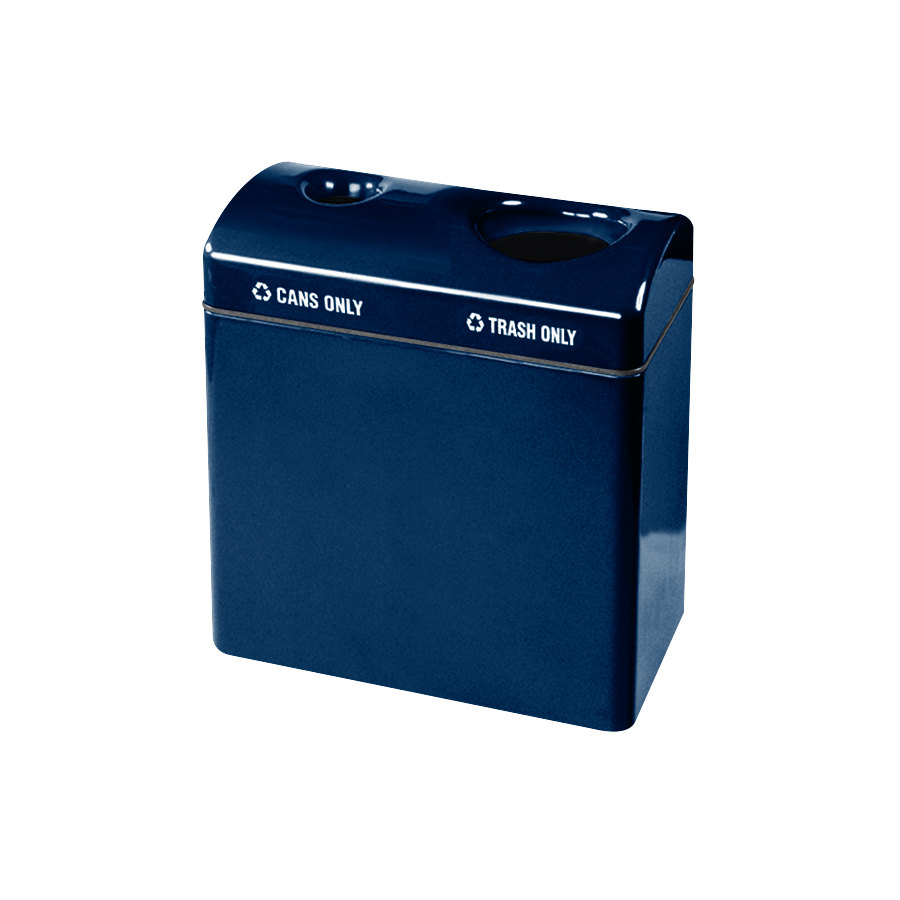Rubbermaid FGFGR3418TC Recycling Centers Navy Blue Fiberglass 2-Section Can/Trash Recycling Station with Rigid Plastic Liner (2) 23 Gallon (FGFGR3418TCPLNBL)