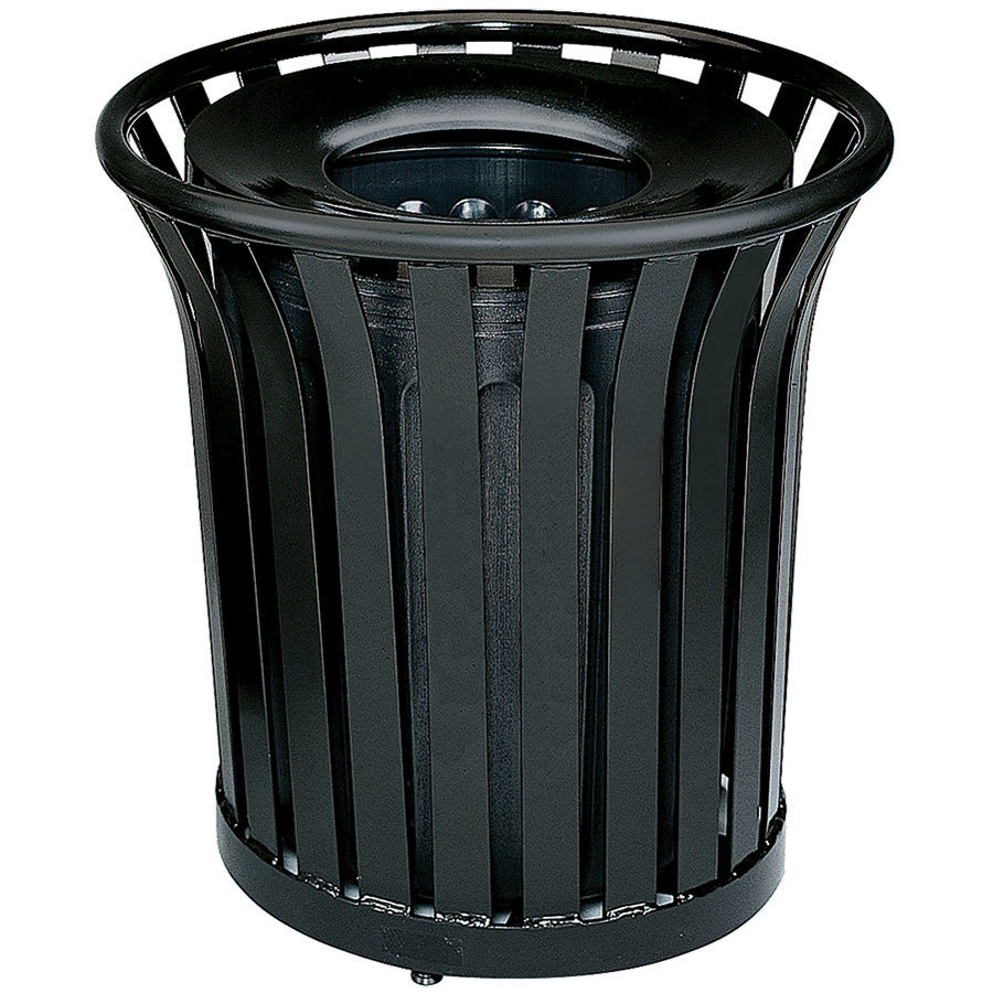 Rubbermaid FGMT32 Americana Series Open-Top Black Round Steel Waste Receptacle with Rigid Plastic Liner 36 Gallon (FGMT32PLBK)