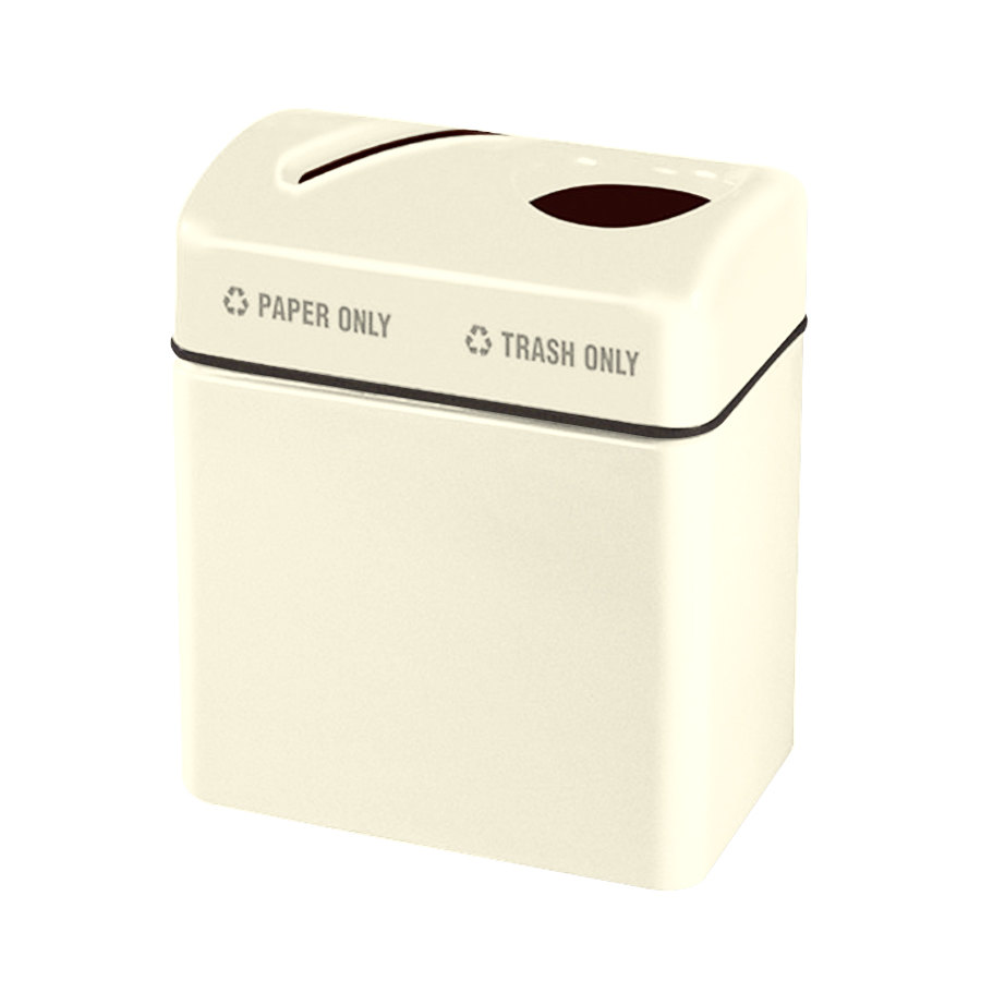 Rubbermaid FGR2416 Recycling Centers Ivory Fiberglass 2-Section Paper/Trash Recycling Center with Rigid Plastic Liner (2) 16 Gallon (FGFGR2416TPPLIV)