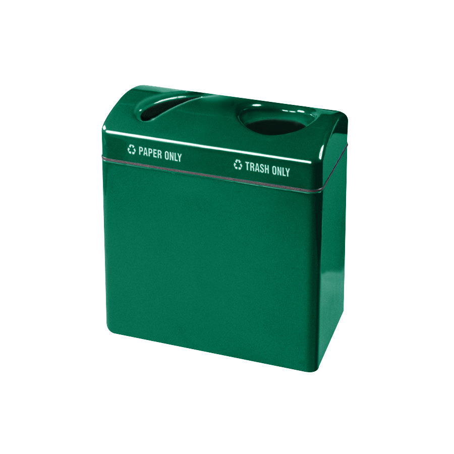 Rubbermaid FGR3418 Recycling Centers Empire Green Fiberglass Large Capacity 2-Section Paper/Trash Recycling Center with Rigid Plastic Liner (2) 23 Gallon (FGFGR3418TPPLEGN)