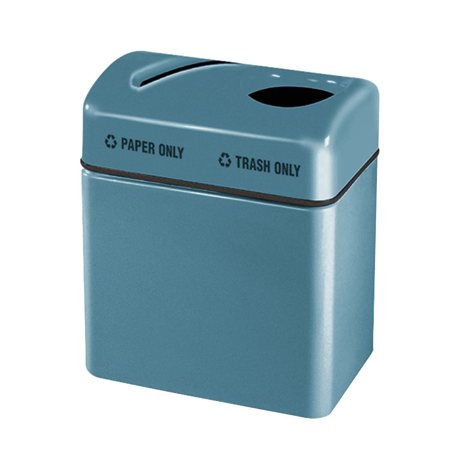 Rubbermaid FGR2416 Recycling Centers Country Blue Fiberglass 2-Section Paper/Trash Recycling Center with Rigid Plastic Liner (2) 16 Gallon (FGFGR2416TPPLCBL)