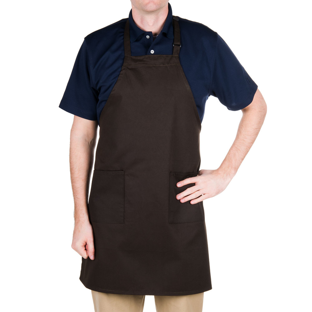 "Brown 2-Pocket Bib Apron with Adjustable ""D"" Ring Neck Strap - 28"" x 32"""