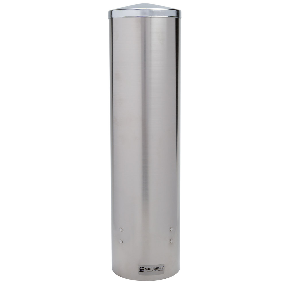 "San Jamar C3450SS Pull-Type Stainless Steel 12 - 24 oz. Flat / 8 - 12 oz. Cone Cup Dispenser - 16"" Long"