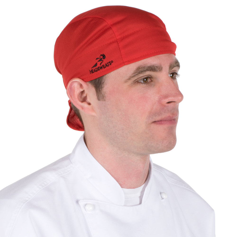 Red Headsweats Customizable 8807-803 Shorty Chef Cap