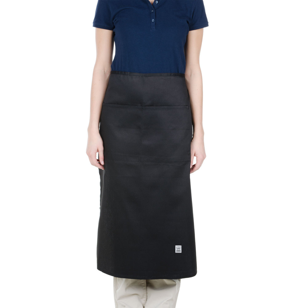 "Chef Revival 607BA2-BK Customizable Long Black Crew Bistro Apron with Two Pockets - 34""L x 28""W"