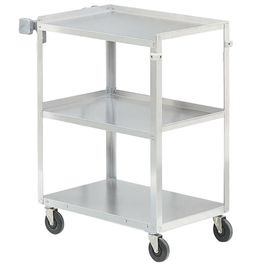 "Vollrath 97125 Stainless Steel 3 Shelf Utility Cart - 27 1/2"" x 15 1/2"" x 32 5/8"""