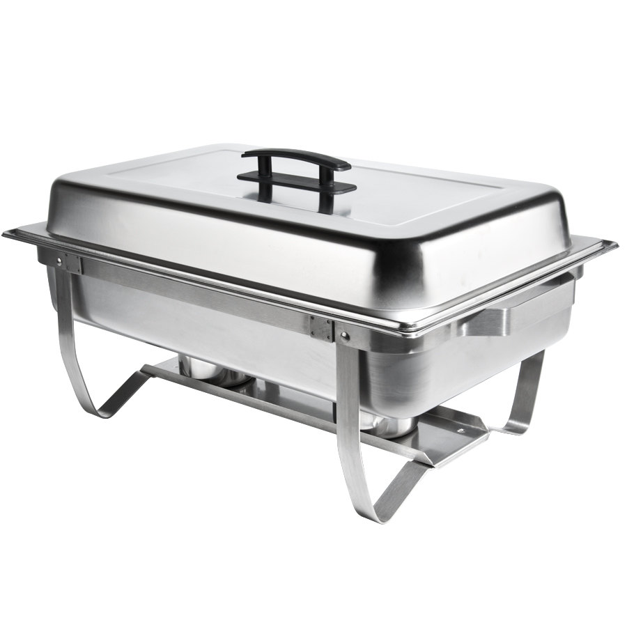 8 qt stainless steel rectangular folding chafer set. Black Bedroom Furniture Sets. Home Design Ideas