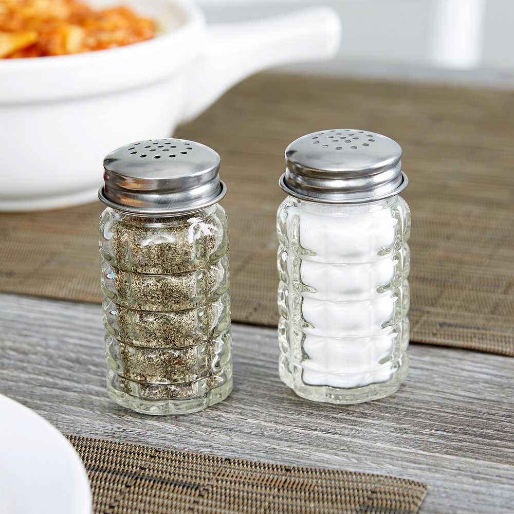 Tablecraft 163S&P 1.5 oz. Nostalgia Glass Salt and Pepper Shakers with Stainless Steel Tops - 12/Pack