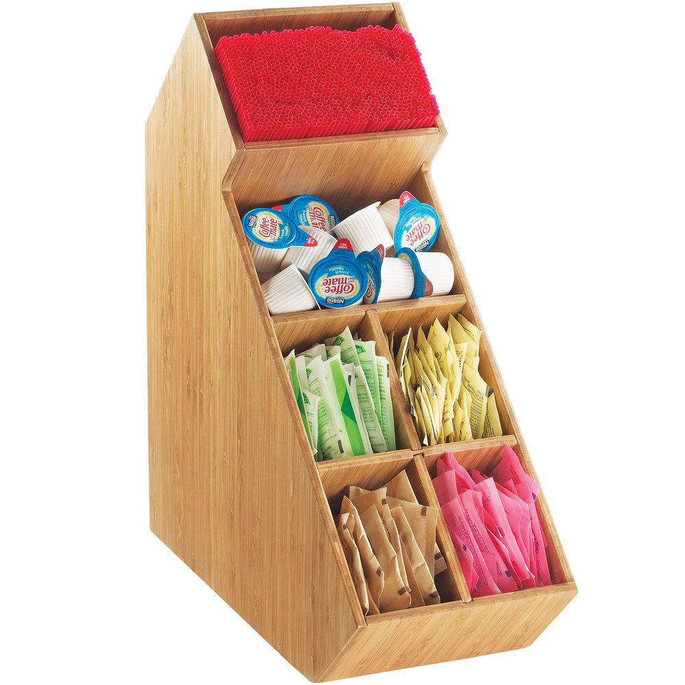 "Cal-Mil 2052-60 Bamboo Stir Stick and Condiment Display with Removable Dividers - 5 1/2"" x 13 1/4"" x 14 1/4"""