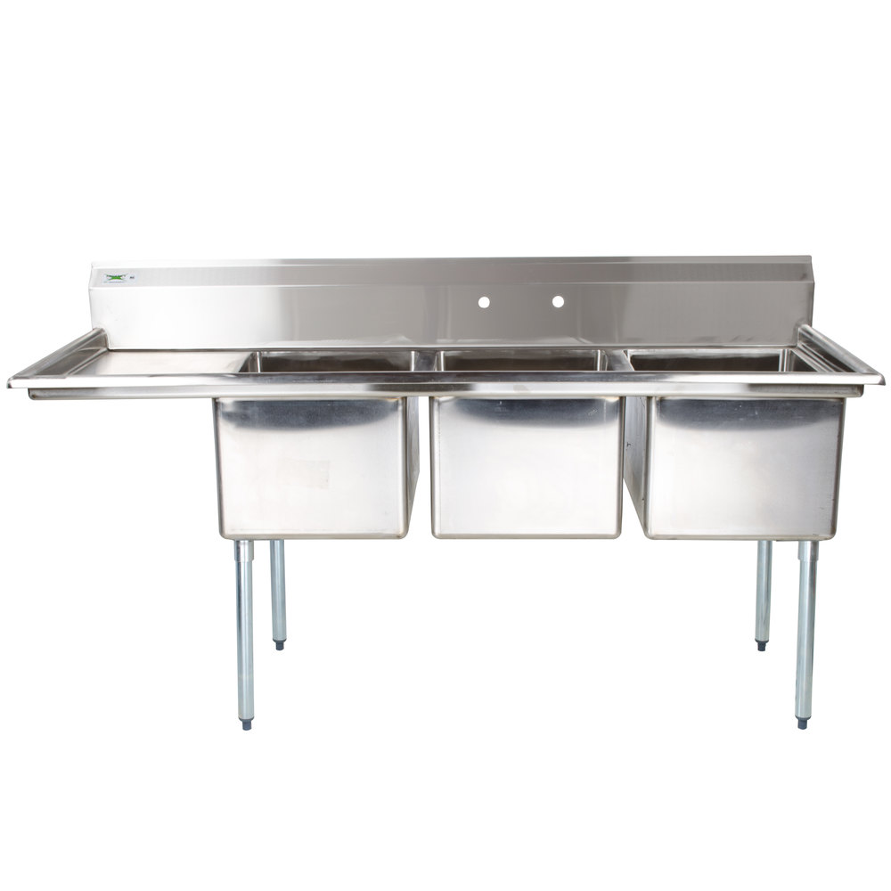 Three Compartment Stainless Steel Commercial Sink with 1 Drainboard ...