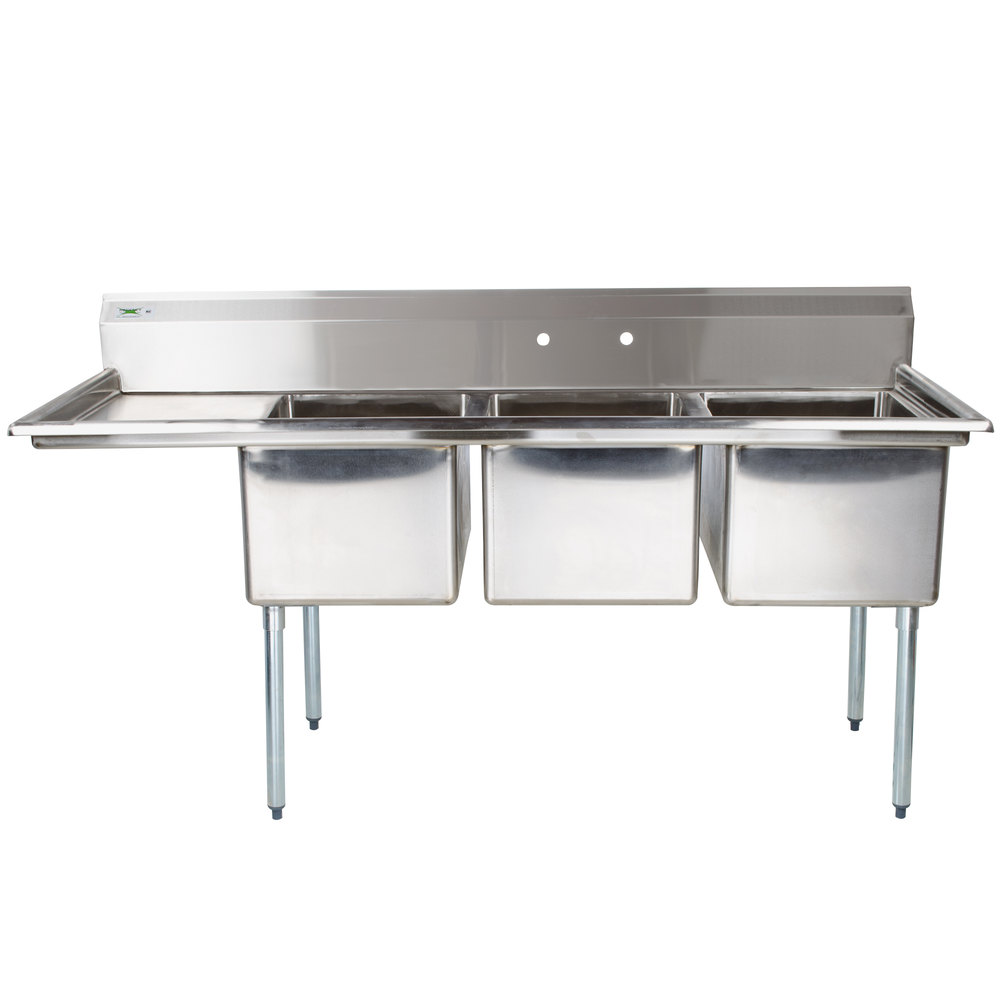 Regency 66 1 2 Quot 16 Gauge Stainless Steel Three Compartment