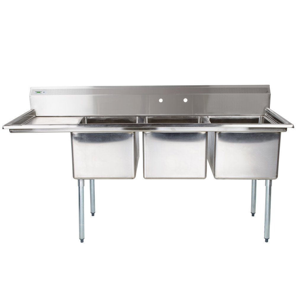 Regency 66 1 2 16 Gauge Stainless Steel Three Compartment Commercial Sink With 1 Drainboard