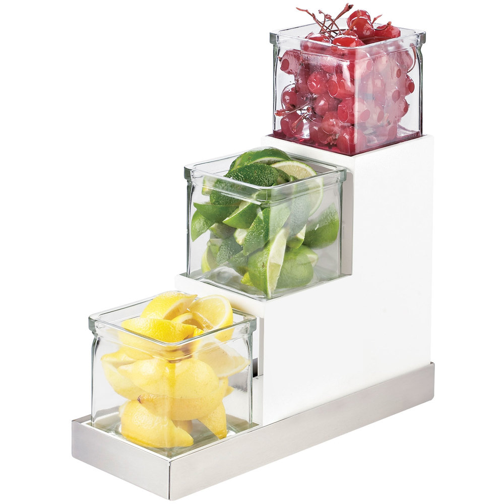 cal mil 3003 55 12 luxe three tier 4 glass jar display with white metal frame and