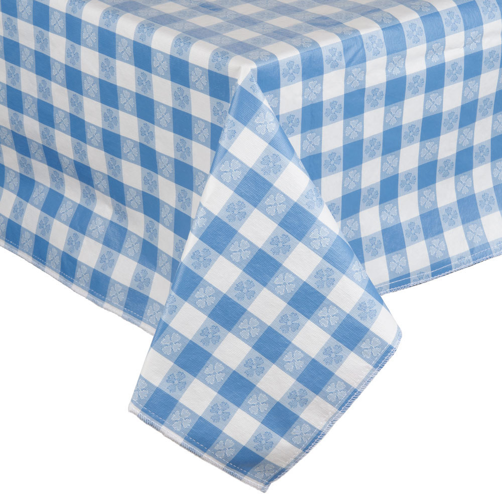"52"" x 90"" Blue Checkered Vinyl Table Cover with Flannel Back"