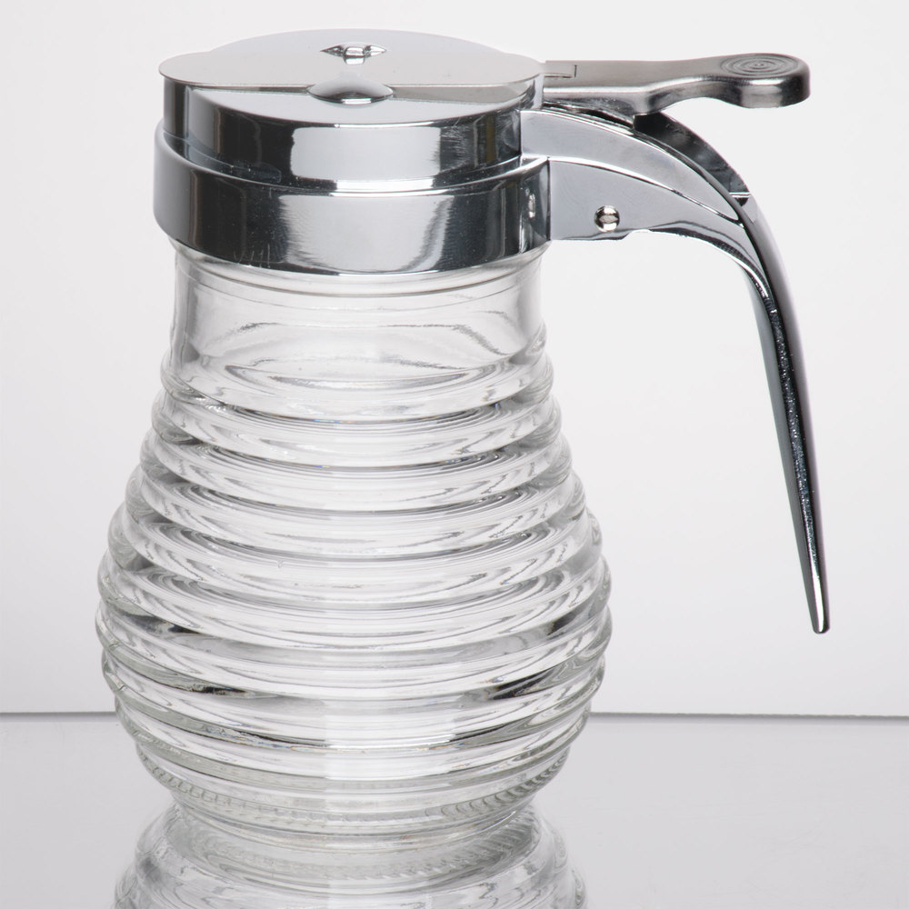 Tablecraft Bh7 6 Oz Beehive Glass Syrup Dispenser With