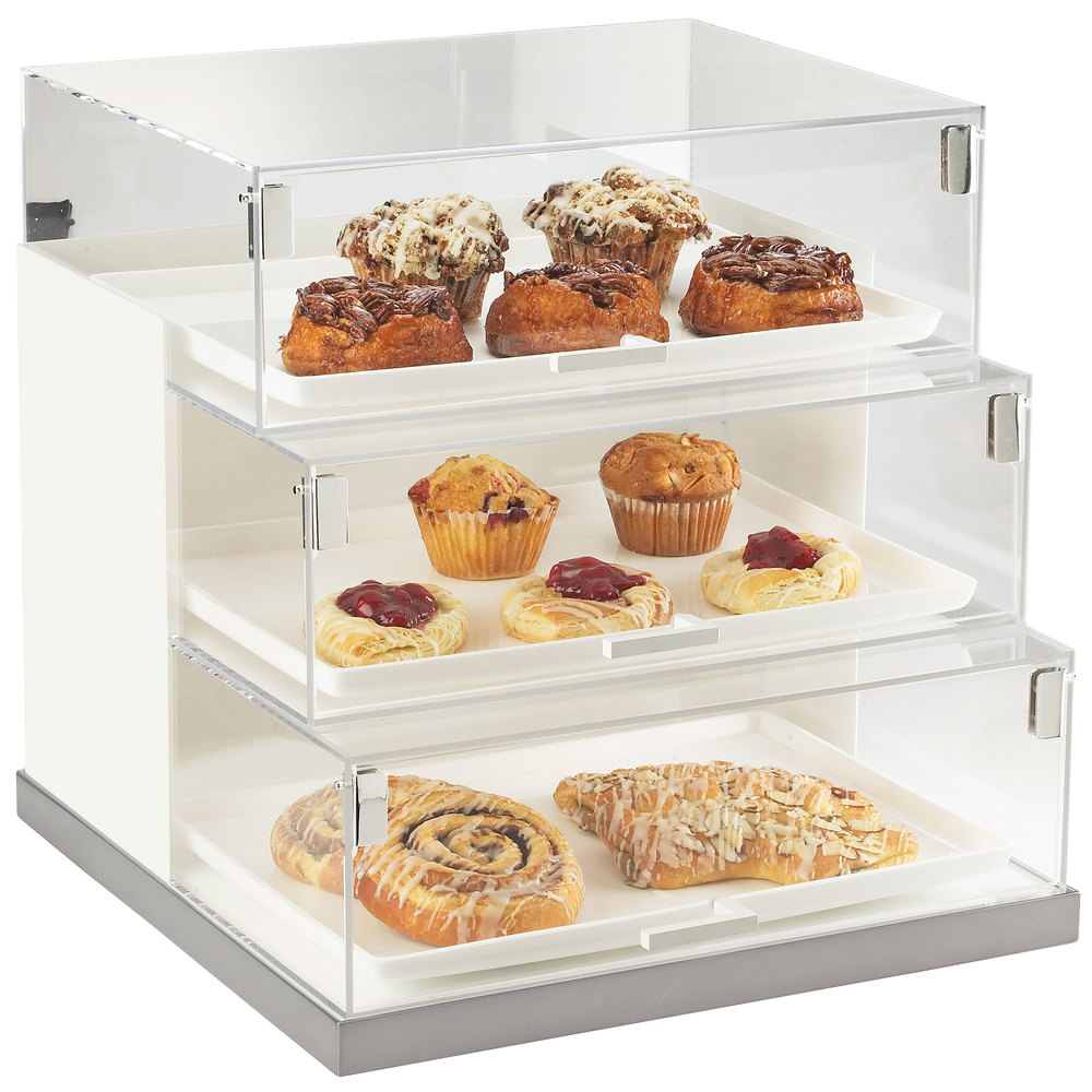 "Cal-Mil 3020-55 Luxe Three Tier Stainless Steel Base Bread Case - 19"" x 20"" x 19"""