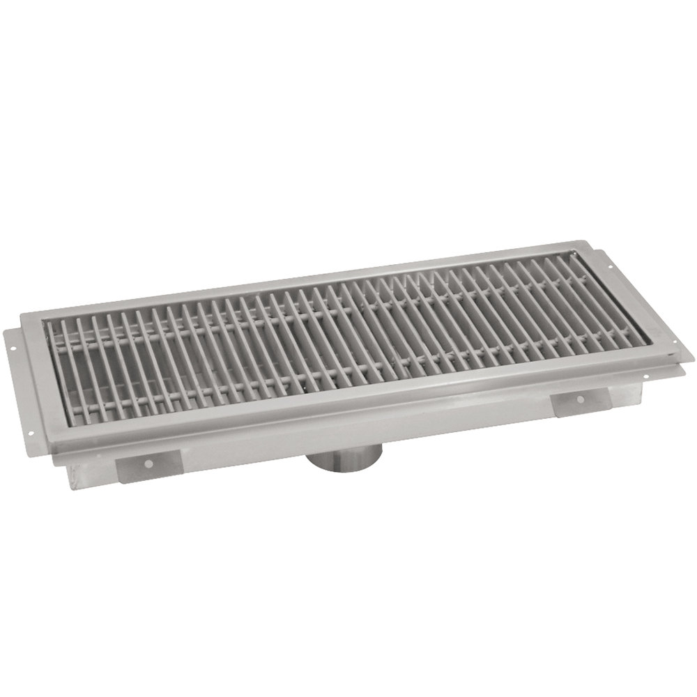 "Advance Tabco FRG-48 12"" x 48"" Floor Water Receptacle with Stainless Steel Grating"