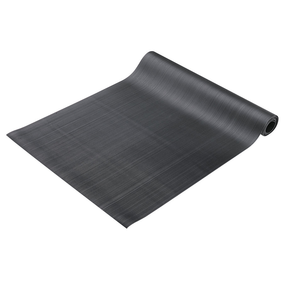 "Cactus Mat 1010R-C4 Deep Groove 4' Wide Corrugated Black Vinyl Runner Mat - 1/8"" Thick"