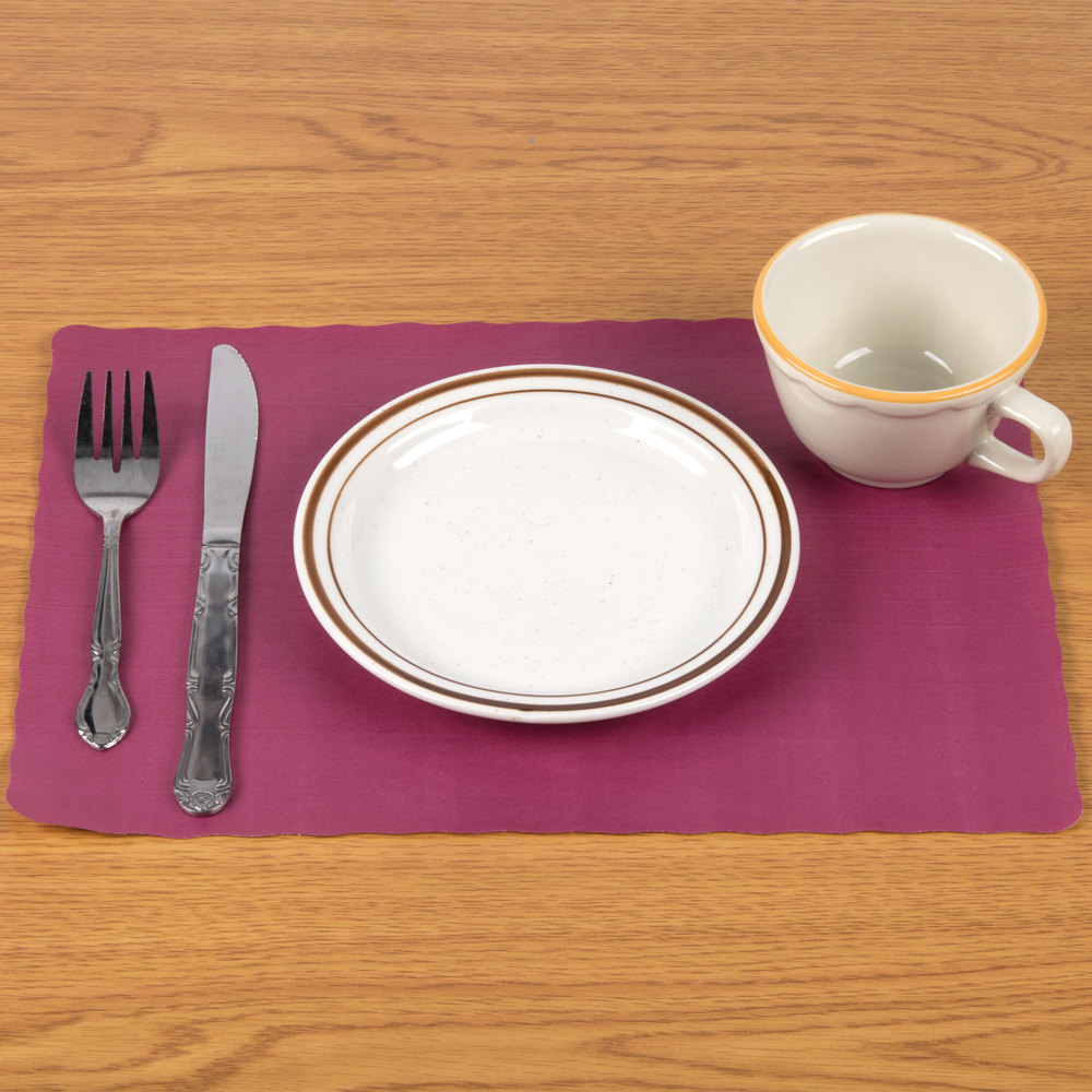 "10"" x 14"" Burgundy Colored Paper Placemat with Scalloped Edge - 1000/Case"