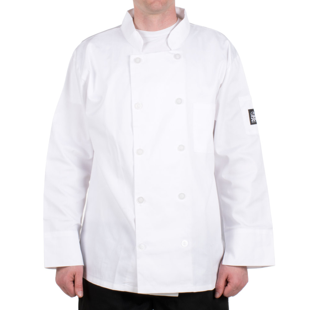 Chef Revival Bronze J100-3X Size 56 (3X) Customizable White Double-Breasted Chef Coat - Poly-Cotton Blend